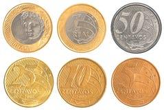 Uppsättning för Brasilien cirkulerande myntsamling Arkivfoton
