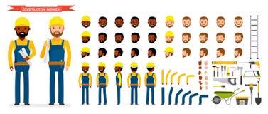 Uppsättning för byggnadsarbetareCharacter skapelse Den manliga arbetaren i blått total-, olikt poserar och sinnesrörelser, spring Arkivfoto