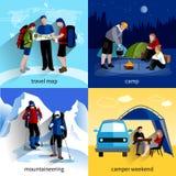 Uppsättning för camparefolksymboler Arkivbilder