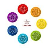 Uppsättning för Chakra färglägenhet Royaltyfri Foto