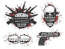 Uppsättning för Chicago gangstercitationstecken stock illustrationer