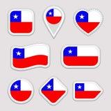Uppsättning för Chile flaggavektor Chilenaren sjunker klistermärkesamlingen Isolerade geometriska symboler Emblem för nationella  vektor illustrationer
