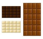 Uppsättning för chokladstång Arkivbild
