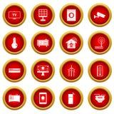 Uppsättning för cirkel för symbol för Smart hemhus röd Arkivbild