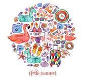 Uppsättning för cirkel för sommarsemester, vattenfärgbeståndsdelar vektor illustrationer