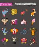 Uppsättning för cirkusunderhållningsymboler för infographics Royaltyfria Foton