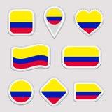 Uppsättning för Colombia flaggavektor Colombianskt nationsflaggaklistermärkesamling Vektor isolerade geometriska symboler Rengöri stock illustrationer