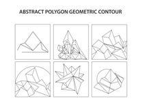 Uppsättning för countor för abstrakt polygon för vektor geometrisk Royaltyfri Bild