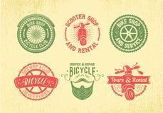 Uppsättning för cykeletikettdesign Cykeln shoppar, service och hyra Arkivbilder