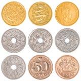 Uppsättning för Danmark cirkulerande myntsamling Arkivfoton