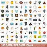 uppsättning för 100 dataspelsymboler, lägenhetstil Arkivfoton