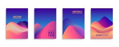 Uppsättning för design för ökenlägeabstrakt begrepp Samling för räkningsmallar för broschyrer, affischer, baner och kort Royaltyfri Foto