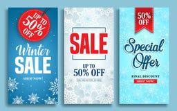 Uppsättning för design för affisch för vinterförsäljningsvektor med försäljningstext- och snöbeståndsdelar i färgrik vinterbakgru Arkivbild