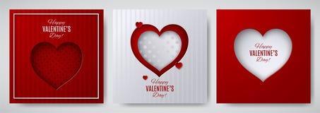 Uppsättning för design för dag för valentin` s Hälsningkort, affisch, banersamling Cutted pappershjärta royaltyfri illustrationer