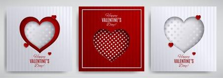 Uppsättning för design för dag för valentin` s Hälsningkort, affisch, banersamling Cutted skyler över brister hjärta på vitt/rött royaltyfri illustrationer