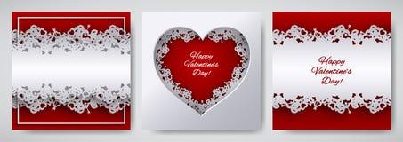 Uppsättning för design för dag för valentin` s Hälsningkort, affisch, banersamling Cutted skyler över brister hjärta som dekorera stock illustrationer