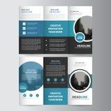 Uppsättning för design för blå för cirkelaffär trifold för broschyr för broschyr för reklamblad för rapport vektor för mall minst Royaltyfria Bilder