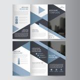 Uppsättning för design för blå för triangelaffär trifold för broschyr för broschyr för reklamblad för rapport vektor för mall min royaltyfri illustrationer