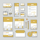 Uppsättning för design för brevpapper för mall för företags identitet för byggnadskonstruktion och affärsbrevpapper Arkivfoton