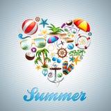 Uppsättning för design för ferie för sommar för vektorförälskelsehjärta på wav royaltyfri illustrationer