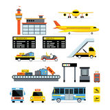 Uppsättning för design för flygplatsobjektlägenhet Vektor Illustrationer