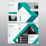 Uppsättning för design för grön för triangelaffär trifold för broschyr för broschyr för reklamblad för rapport vektor för mall mi stock illustrationer