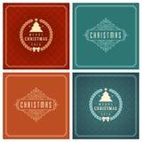 Uppsättning för design för kort för jultypografihälsning Arkivbilder