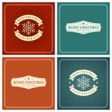 Uppsättning för design för kort för jultypografihälsning Royaltyfri Fotografi