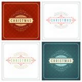 Uppsättning för design för kort för jultypografihälsning Arkivfoto