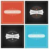 Uppsättning för design för kort för jultypografihälsning Fotografering för Bildbyråer