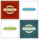 Uppsättning för design för kort för jultypografihälsning Arkivfoton