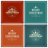 Uppsättning för design för kort för jultypografihälsning Arkivbild