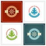 Uppsättning för design för kort för jultypografihälsning Royaltyfri Foto