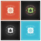 Uppsättning för design för kort för jultypografihälsning Royaltyfria Bilder