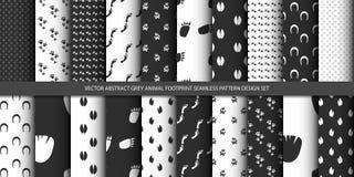 Uppsättning för design för modell för abstrakt grått djurt fotspår för vektor sömlös Royaltyfri Bild
