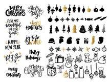 Uppsättning för design för nytt år för julans Feriegarneringbeståndsdelar: noel bollar, snöflingor, gåvor Skriftlig bokstäver för stock illustrationer