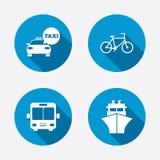 Uppsättning för dig design Åk taxi bilen, cykla, bussa och sänd Arkivfoton