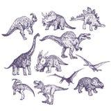 Uppsättning för dinosaurievektorteckningar vektor illustrationer