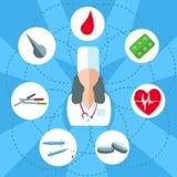 Uppsättning för doktorskvinnaobjekt av läkarundersökning Arkivbild