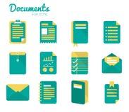 Uppsättning för dokumentsymbol. Arkivfoton