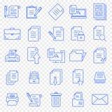 Uppsättning för dokumentsymbol 25 vektorsymboler packar royaltyfri illustrationer
