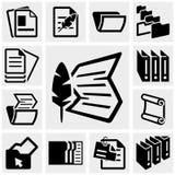 Uppsättning för dokumentvektorsymboler på grå färger. royaltyfri illustrationer