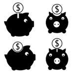 Uppsättning för dollarsparbössasymbol stock illustrationer
