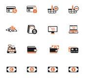 uppsättning för E-kommers färgsymbol stock illustrationer