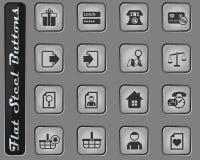 uppsättning för E-kommers manöverenhetssymbol stock illustrationer