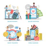 uppsättning för E-kommers rengöringsdukbaner Online-shoppa och mobilt royaltyfri illustrationer
