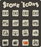 uppsättning för E-kommers stensymbol stock illustrationer