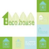 Uppsättning för Eco bio husemblem av designen Fotografering för Bildbyråer