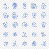 Uppsättning för Eco elektricitetssymbol 25 symboler arkivbild