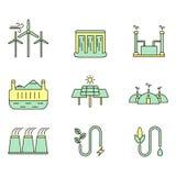 Uppsättning för Eco energiillustration Arkivfoto